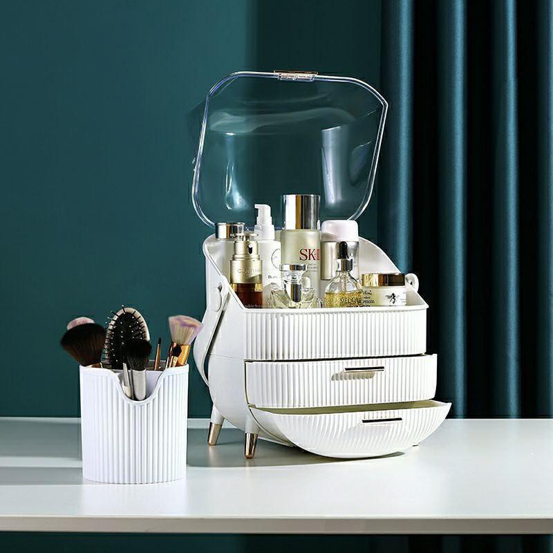 Kệ đựng mỹ phẩm style Bắc Âu, KÈM QUÀ TẶNG, hộp đựng mỹ phẩm có nắp trong suốt