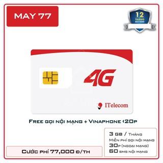 Sim 4G (Vinaphone) Itelecom MAY gói 90gb/tháng + 30 phút gọi ngoại mạng (Giống như sim 4G Vinaphone VD89 Plus) nhận OTP