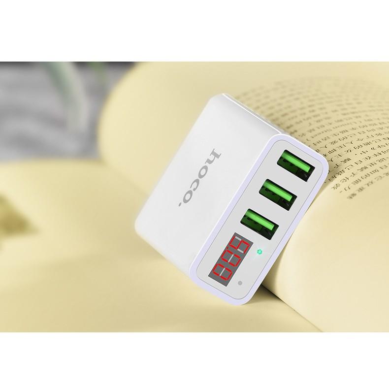Freeship-Deal Hot Cốc sạc 3 cổng Hoco C15 3A - màn hình LCD hiển thị điện áp