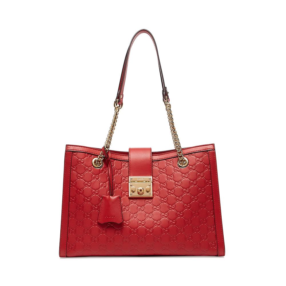 กุชชี่  กุชชี่แดง G คู่หัวเข็มขัดโลหะสีเข้มแฟชั่นย้อนยุคป่าห่วงโซ่กระเป๋าถือกระเป๋าสะพายกระเป๋าถือ