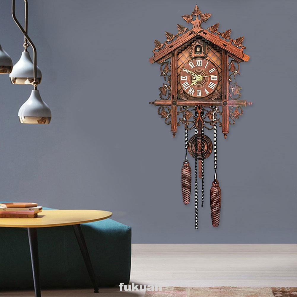 Decorative European Home Study Room Vintage Style Wood Cuckoo Wall Clock