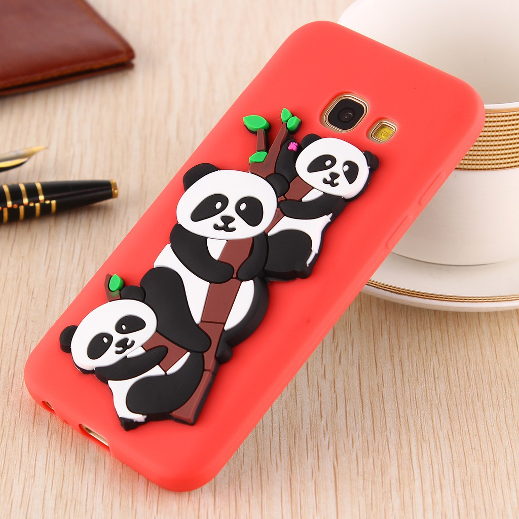 For Samsung Galaxy A320/A3 2017 Cute Panda Silicone Rubber Soft Case Back Cover