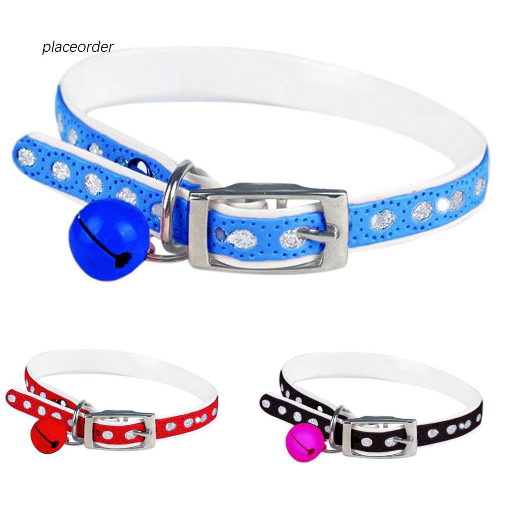 PEOD_Cute Adjustable Dog Cat Pet Supplies Buckle Faux Leather Neck Collar with Bell