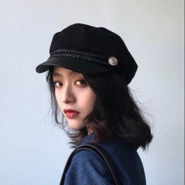 Mũ dạ baker boy phong cách Hàn quốc, khuy bạc, đai da