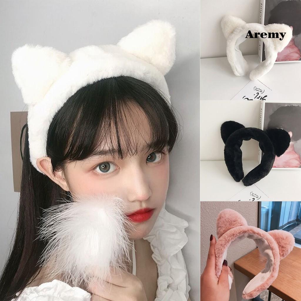 Băng Đô Cài Tóc Tai Mèo Bằng Vải Bông Đơn Giản Dành Cho Nữ