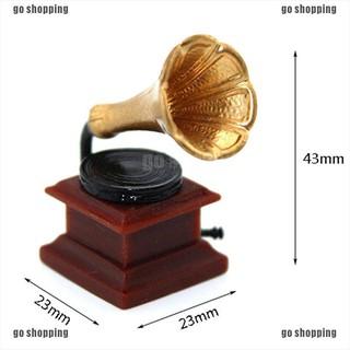 {go shopping}1:12 Miniature retro phonograph dollhouse diy doll house decor accessories