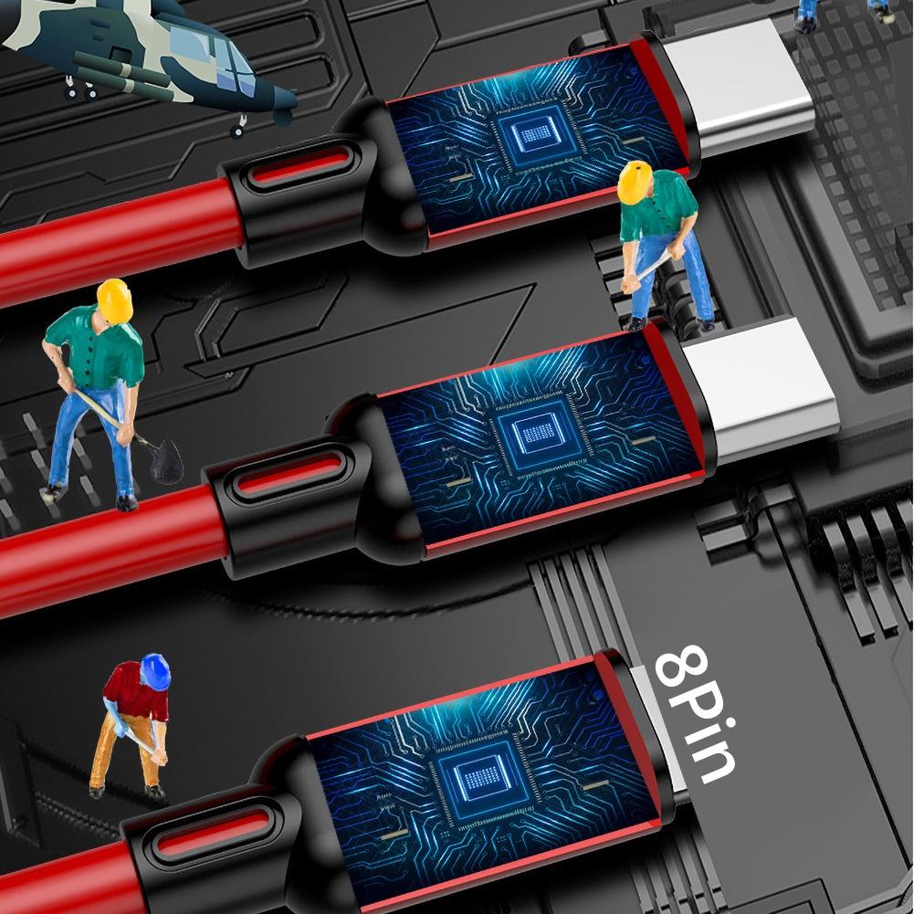 Dây Cáp Sạc Nhanh Usb Loại C 3a 3 Trong 1 Tiện Dụng Cho Iphone / Android