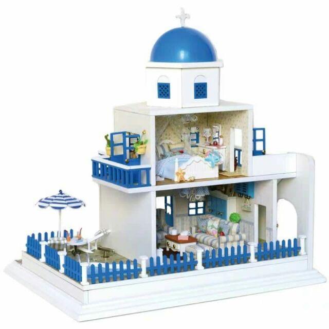 Mô hình nhà gỗ lắp ráp DIY – Kèm mica và nhạc – A026 Santorini