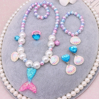 Baby Girl Jewelry 5 Pieces Set Mermaid Fish Tail Pendant + Ear Clips+ Ring Cute Gift Accessories for Kids thumbnail