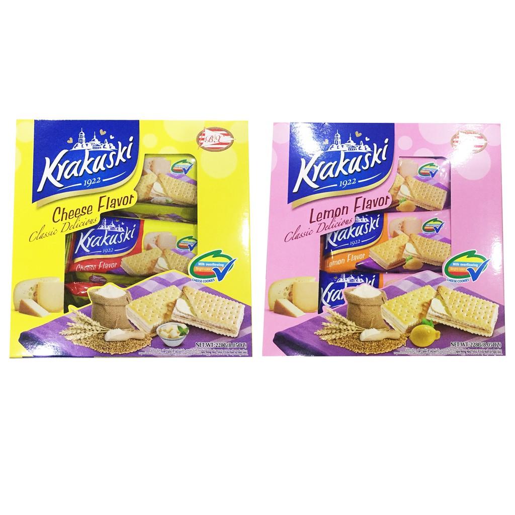 Thùng 16 hộp bánh lúa mạch nhân kem 2 vị Krakusi