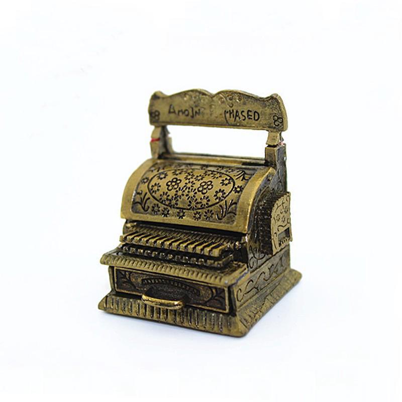 HW Mini Retro Cash Register Model Wonderful Decoration for Dollhouse