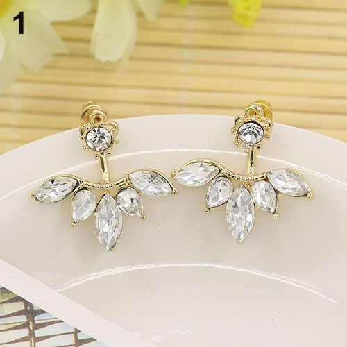 Đôi bông tai kim cương hình chiếc lá thời trang cho nữ
