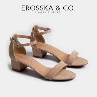 Giày cao gót Erosska thời trang mũi tròn bít gót phối quai mảnh tinh tế cao 3cm màu nude _ EB001