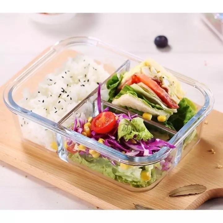 Hộp thủy tinh chia 3 ngăn - 2 ngăn đựng thực phẩm có nắp đậy an toàn chịu nhiệt cao