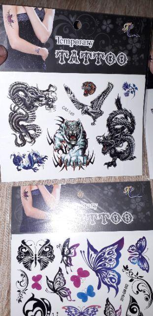 Hình dán xăm nước Tattoo động vật nhiều màu