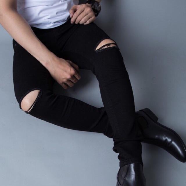 Quần jeans đen nam rách 2 gối