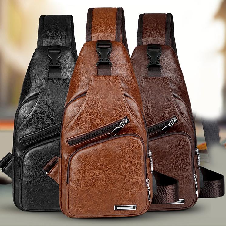 Túi đeo chéo nam da Pu chống nước tích hợp cổng sạc USB thông minh - Túi chéo nam TC02