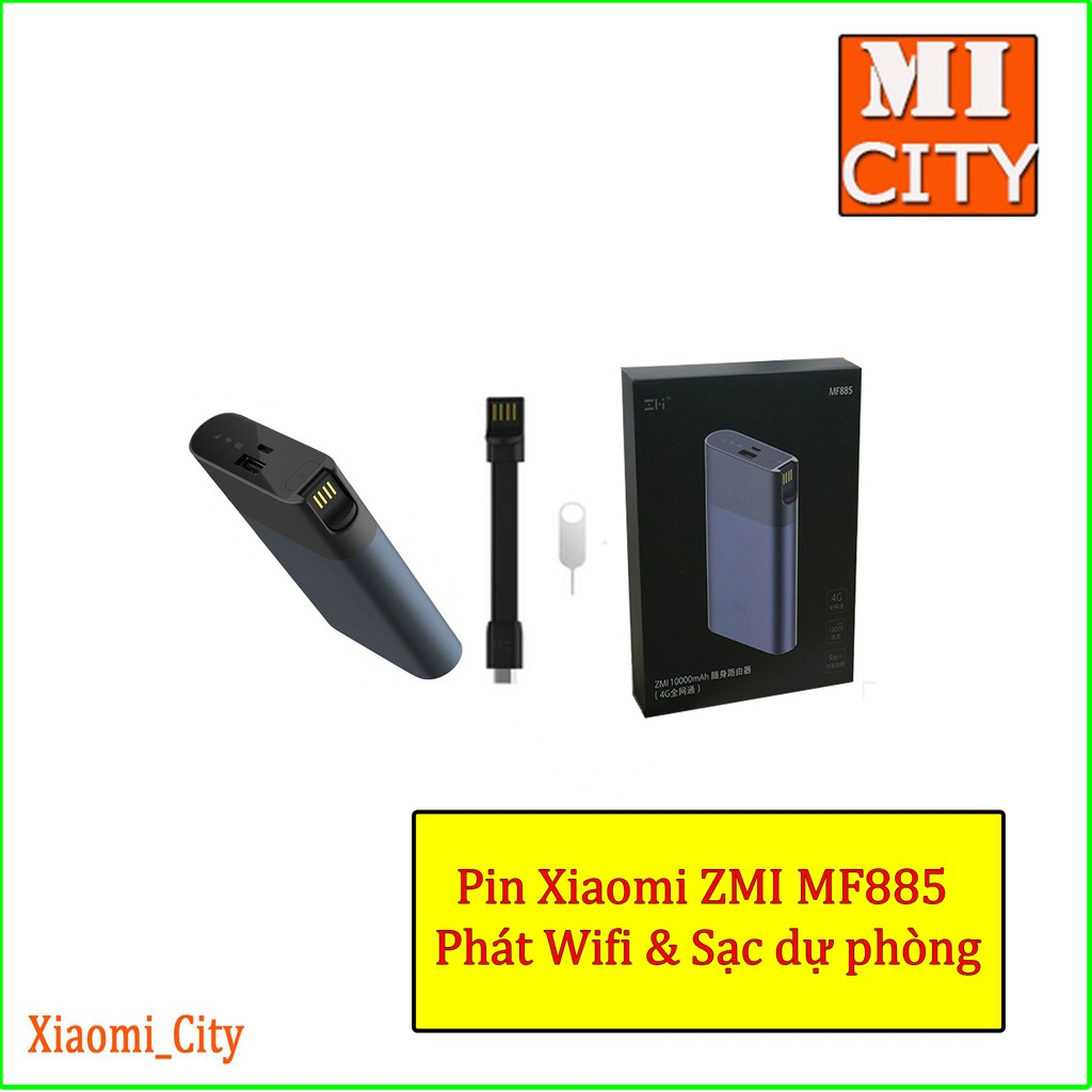 Pin phát wifi di động từ sim 3G/4G kiêm sạc dự phòng zmi mf885 Giá chỉ 1.350.000₫