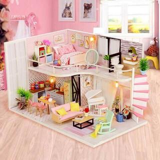 Mô hình nhà gỗ búp bê dollhouse DIY – Kèm mica – M035 Anna's Pink Melody