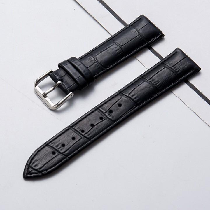 Dây đồng hồ nam da bò dập vân cá sấu tặng kèm chốt và dụng cụ tháo dây - D1915