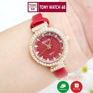 Đồng hồ nữ Bolun đẹp chính hãng dây da mặt viền đá chống nước Winsley thumbnail