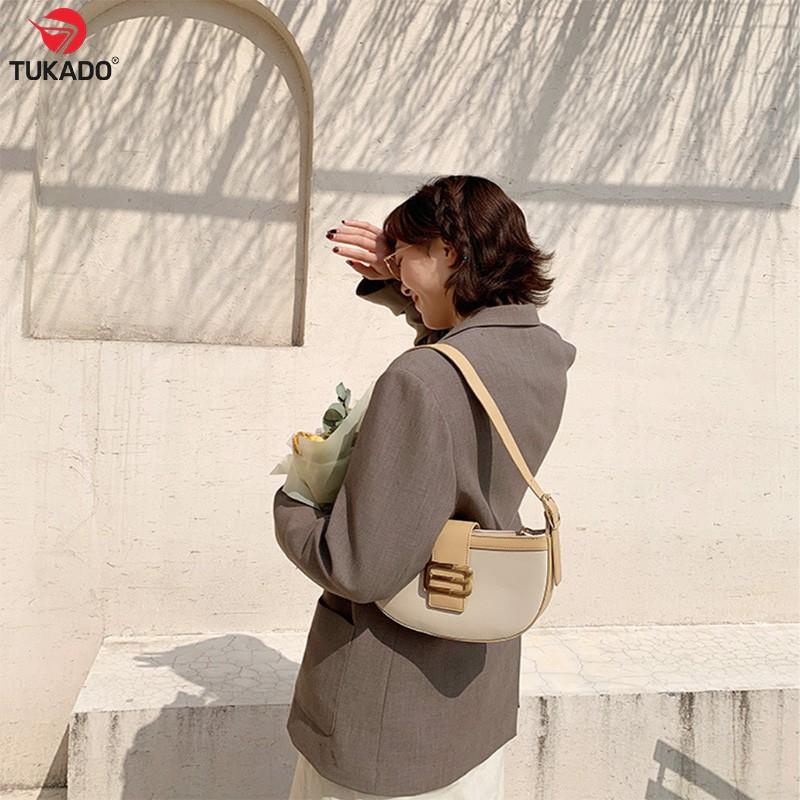 Túi Xách Nữ Đeo Chéo Kẹp Nách Chính Hãng MICOCAH Dáng Công Sở Thời Trang Phối Màu Vintage Cực Đẹp MC14 - Tukado