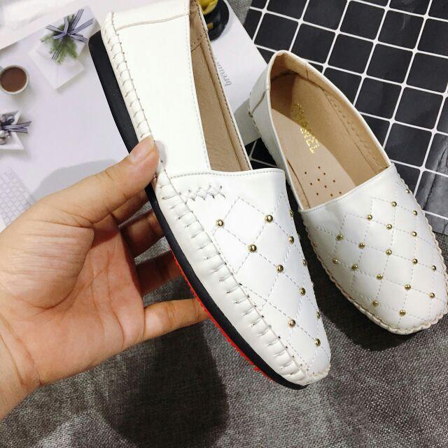 [Ảnh thật] Giày slip on để mềm khâu viền đinh tán hot trend năm nay