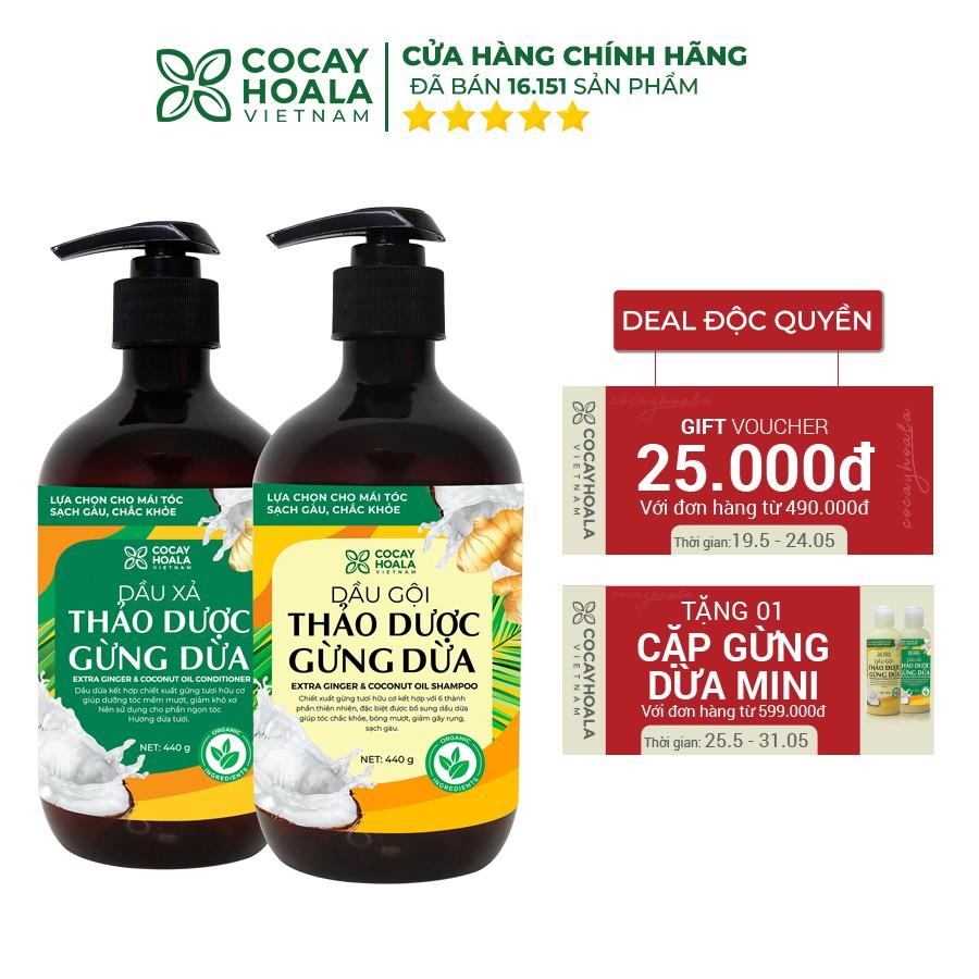 Dầu gội hữu cơ gừng dừa Cocayhoala thảo dược cao cấp cỏ cây hoa lá đánh bay gàu giảm ngứa dung tích 440g/chai