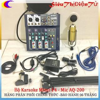 Combo thu âm Mixer F4 với Mic AQ200 MA2 chân màng dây 1 ra 2 zắc chuyển 3.5 lên 6.5