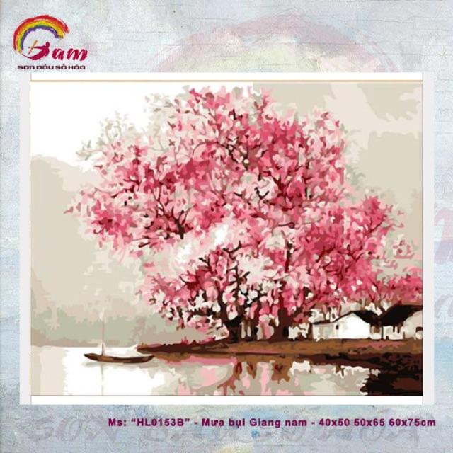 Tranh sơn dầu kỹ thuật số tự tô DIY trang trí - Mã HL0153B Mưa bụi Giang Nam