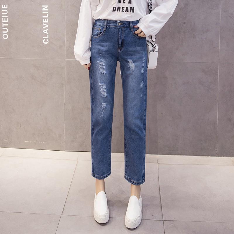 Quần jean nữ lưng cao ống đứng kiểu dáng đơn giản phong cách Hàn Quốc cho nữ