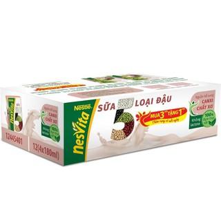 Sữa 5 loại đậu Nesvita , thùng 48 hộp × 180 ml ( mua 3 tặng 1 )