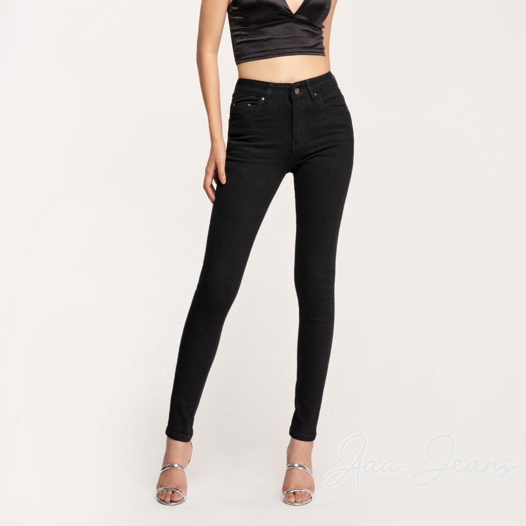 Quần Jean Nữ AAA JEANS Đen Skinny Lưng Cao