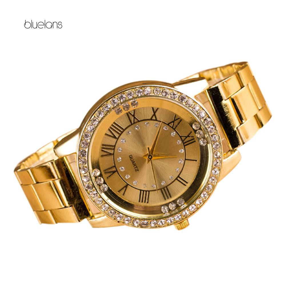 Đồng hồ hợp kim số La Mã đính đá xinh xắn
