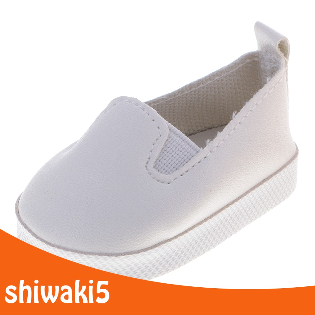 Casual White Slip-on PU Leather Shoes for 18\'\' American Journey Dolls