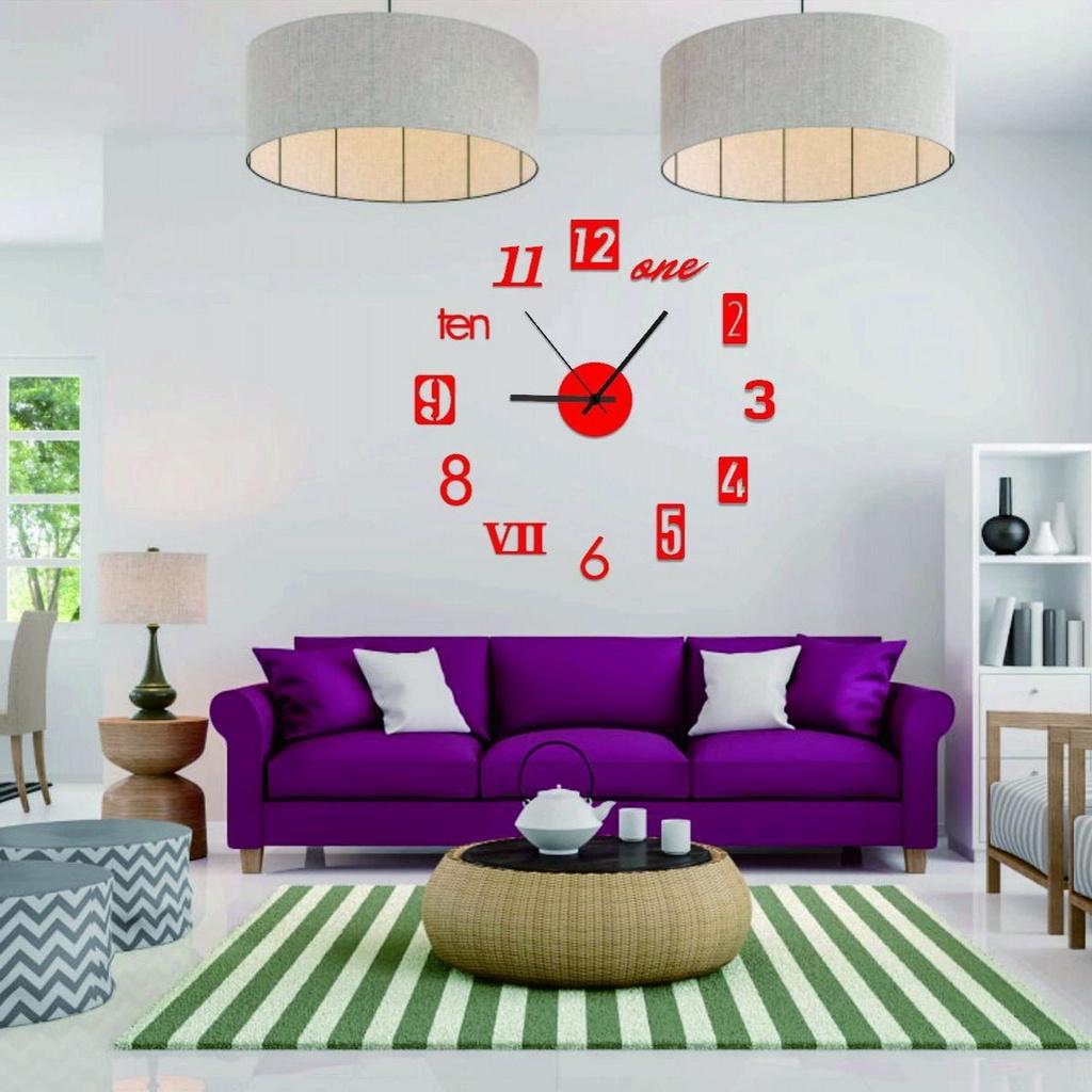 Đồng Hồ Dán Tường Mặt Gương Acrylic 3d Diy Đơn Giản Sáng Tạo Trang Trí Nhà Cửa
