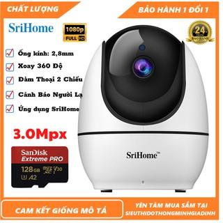 Camera Wifi - Camera Srihome SH026 -3.0Mpx Full HD-30fps s Đàm Thoại,Xoay 360,Xoay Theo Chuyển Động,Cảnh Báo Người Lạ thumbnail