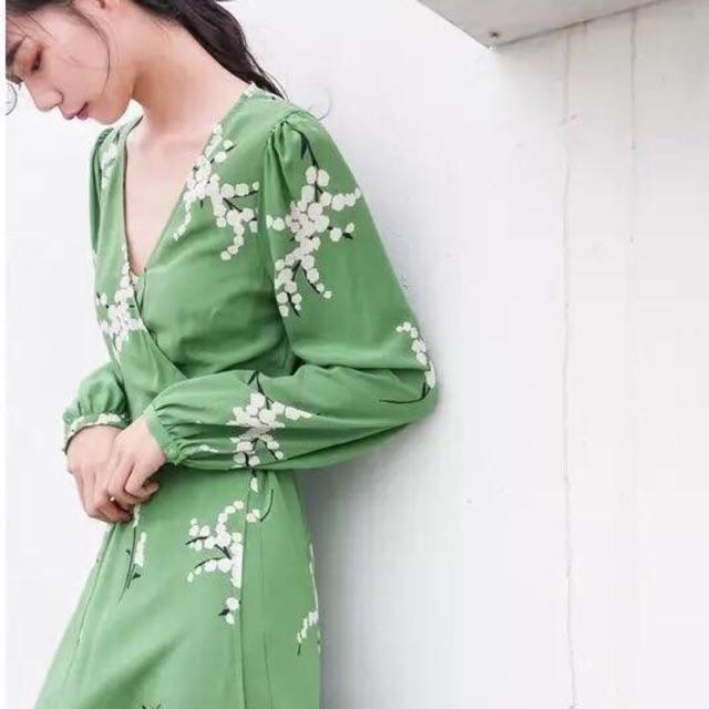 Váy midi xanh ngọc nơ eo