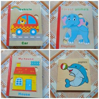 Combo sách gỗ ghép +tranh ghép nam nhiều chủ đề cho bé
