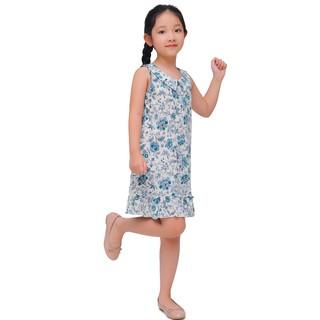 Váy hè bé gái Narsis KB0001 màu trắng hoa xanh xinh xắn