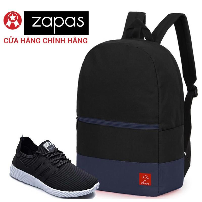 Combo Balo Du Lịch Glado Classical BLL007 (Đen Phối Xanh) Và Giày Sneaker Thể Thao Zapas GS068 (Đen