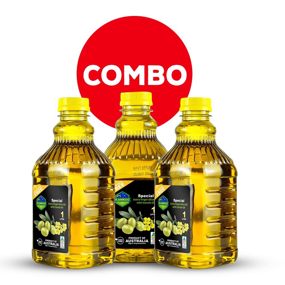 Combo 3 chai loại 1 lít dầu ăn Oliu hạt cải Kankoo chuyên chiên xào, rán, trộn Salad, nêm thức ăn dặm cho bé cực tốt