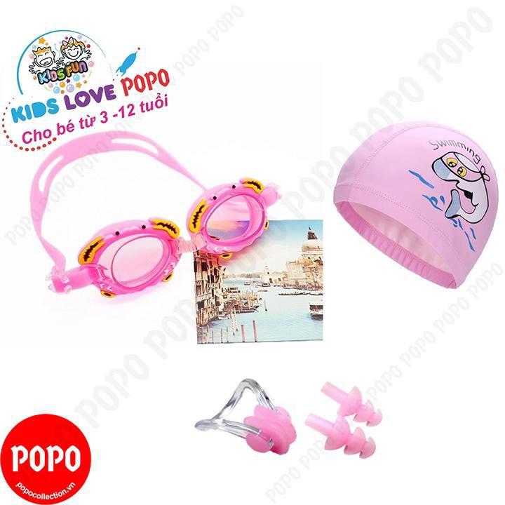 Kính bơi trẻ em hình cua, Mũ bơi ngộ nghĩnh, Bịt tai kẹp mũi POPO Collection chống tia UV, chống sươ