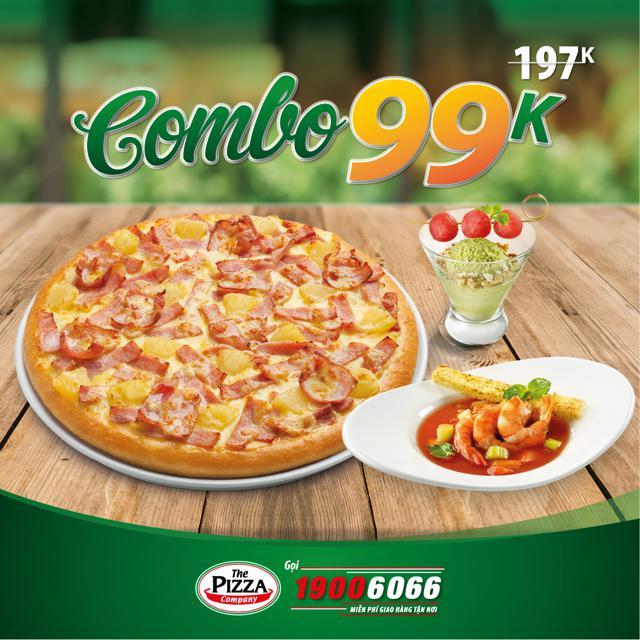 Toàn Quốc [E-Voucher] Combo Pizza + Súp + Kem trị giá 197,000Đ tại hơn 50 cửa hàng The Pizza Company
