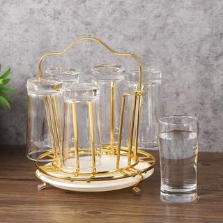 Khay úp cốc, ly hợp kim mạ vàng kèm khay hứng nước cao cấp