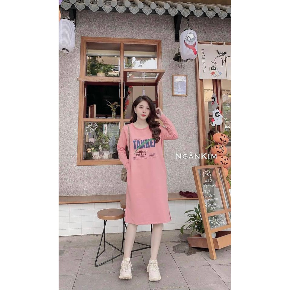 [ Mã FAMAYWA2 giảm 10K đơn 50K] shop xin giới thiệu sản phẩm váy suông dài tay in chữ TAKKE 3 màu xinh xắn H001