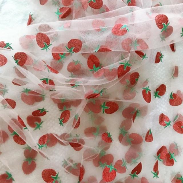 Vải lưới dâu tây làm scrunchies, may váy đầm, khổ vải 1m6
