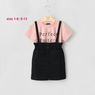 Set yếm váy vải jean mộc kèm áo thun cotton, size 24-42kg.