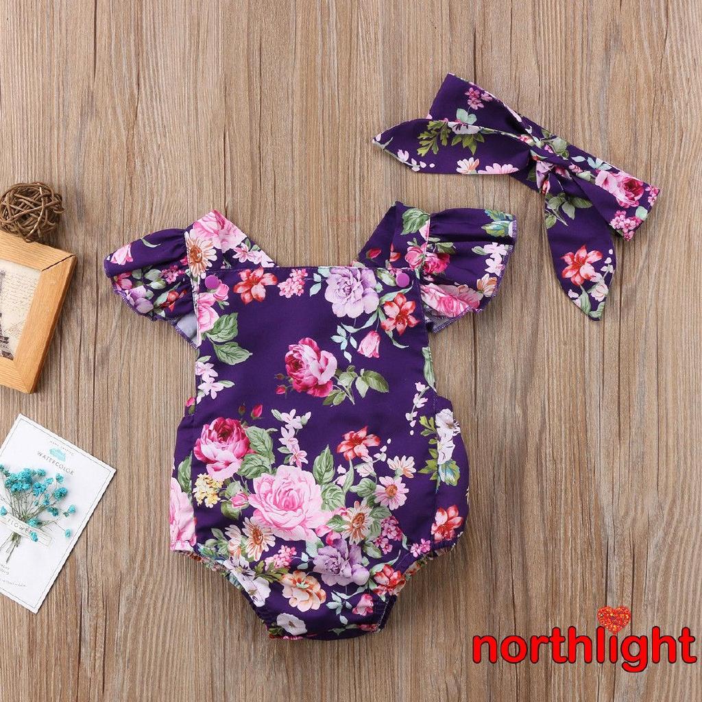 [Mã FSS09JAN hoàn 20% XU đơn từ 0đ]Set áo liền quần + Chân váy hoa + băng đô xinh xắn cho bé gái