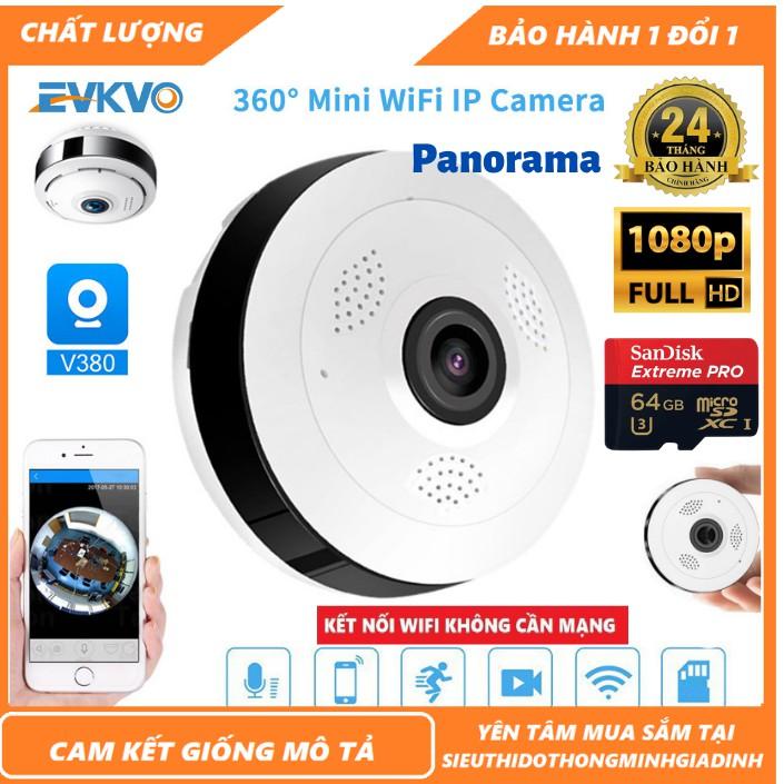 Camera wifi - Camera Ốp Trần - Camera Panorama - Camera V380 2.0 Mpx HD 1080P không dây góc rộng 360 cảm biến CMOS